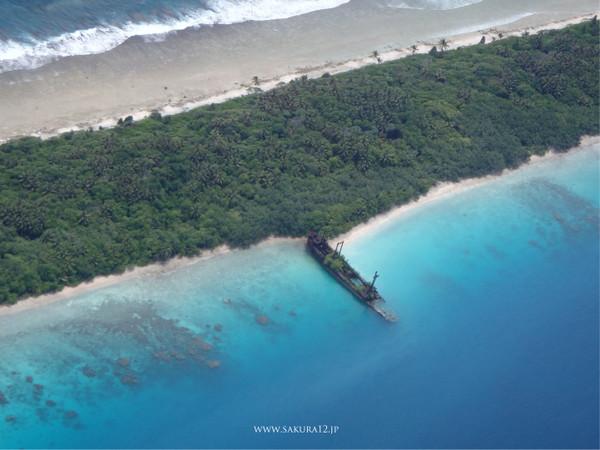 五隆丸。マーシャル諸島はヤルート島に残されている